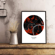 Load image into Gallery viewer, Mapospheres Namur Red dark round shape design poster city map