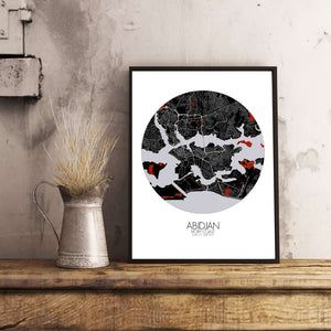 Mapospheres Abidjan Red dark round shape design poster city map