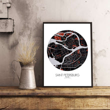 Load image into Gallery viewer, Mapospheres Saint Petersburg Red dark round shape design poster city map