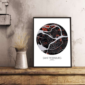 Mapospheres Saint Petersburg Red dark round shape design poster city map