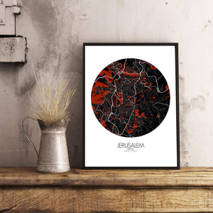 Mapospheres Jerusalem Red dark round shape design poster city map