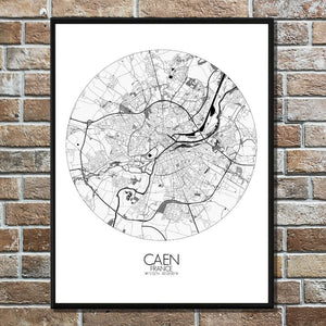 Mapospheres Caen Black and White round shape design poster city map