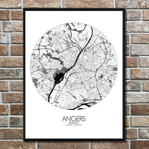 Mapospheres angers Black and White round shape design poster city map