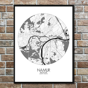 Mapospheres Namur Black and White round shape design poster city map