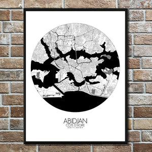 Mapospheres Abidjan Black and White round shape design poster city map