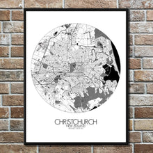 Load image into Gallery viewer, Mapospheres Christchurch Black and White round shape design poster city map