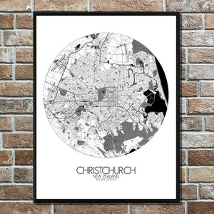 Mapospheres Christchurch Black and White round shape design poster city map
