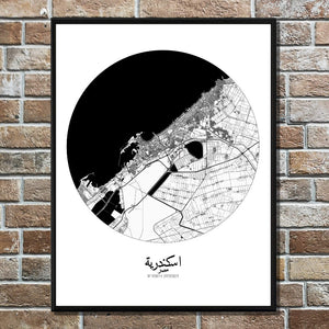 Mapospheres Alexandria Black and White round shape design poster city map