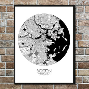 Mapospheres Boston Black and White round shape design poster city map