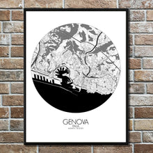 Load image into Gallery viewer, Mapospheres Genoa Black and White round shape design poster city map