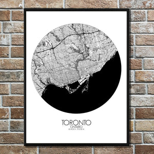 Mapospheres Toronto Black and White round shape design poster city map
