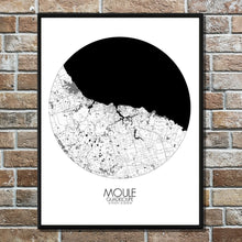 Load image into Gallery viewer, Mapospheres Moule Black and White round shape design poster city map