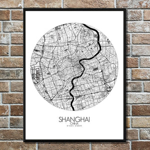 Mapospheres Shanghai Black and White round shape design poster city map
