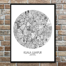 Load image into Gallery viewer, Mapospheres Kuala Lumpur KL Black and White round shape design poster city map