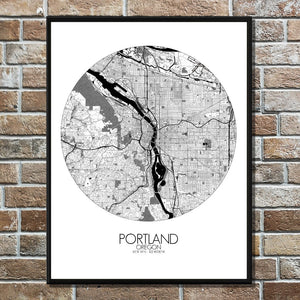 Mapospheres Portland Black and White round shape design poster city map