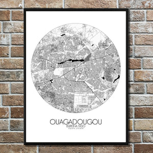 Mapospheres Ouagadougou Black and White round shape design poster city map