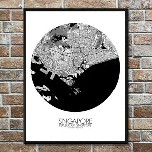 Mapospheres Siingapore Black and White round shape design poster city map
