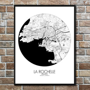 Mapospheres La Rochelle Black and White round shape design poster city map