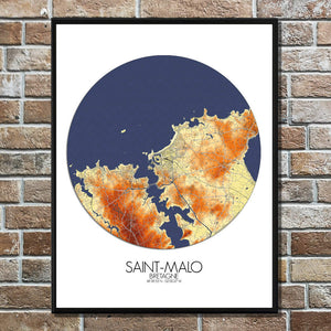 Mapospheres Saint Malo Elevation Map round shape design poster city map
