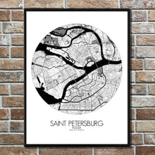 Load image into Gallery viewer, Mapospheres Saint Petersburg Black and White round shape design poster city map