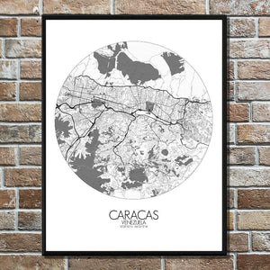 Mapospheres Caracas Black and White round shape design poster city map