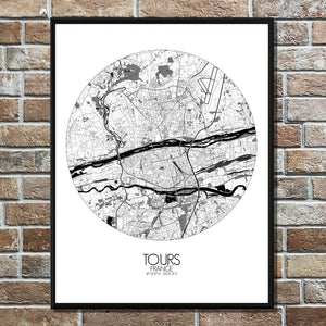 Mapospheres Tours Black and White round shape design poster city map