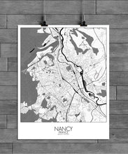 Load image into Gallery viewer, Mapospheres Nancy Black and White full page design poster city map
