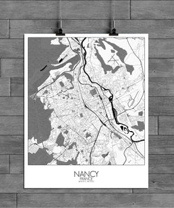 Mapospheres Nancy Black and White full page design poster city map
