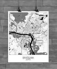 Load image into Gallery viewer, Mapospheres Bratislava Black and White full page design poster city map