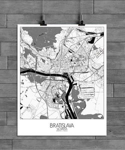 Mapospheres Bratislava Black and White full page design poster city map