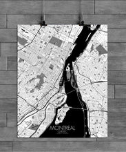 Load image into Gallery viewer, Mapospheres Montreal Black and White full page design poster city map