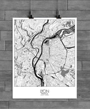 Load image into Gallery viewer, Mapospheres Lyon Black and White full page design poster city map