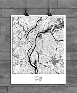 Mapospheres Lyon Black and White full page design poster city map