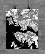 Load image into Gallery viewer, Mapospheres Hong Kong Black and White full page design poster city map