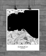 Load image into Gallery viewer, Mapospheres Edinburgh Black and White full page design poster city map