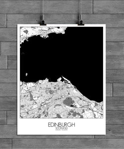 Mapospheres Edinburgh Black and White full page design poster city map
