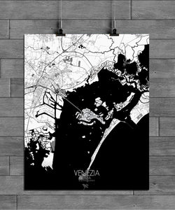 Mapospheres Venice Black and White full page design poster city map
