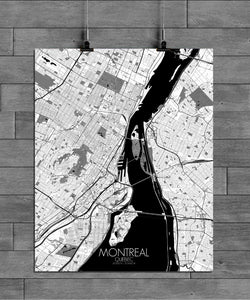Mapospheres Montreal Black and White full page design poster city map