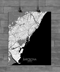 Mapospheres Barcelona Black and White full page design poster city map