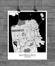 Load image into Gallery viewer, Mapospheres San Francisco Black and White full page design poster city map