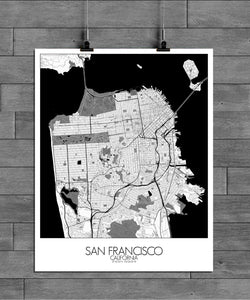 Mapospheres San Francisco Black and White full page design poster city map