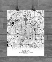 Load image into Gallery viewer, Mapospheres Beijing Black and White full page design poster city map