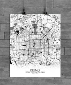 Mapospheres Beijing Black and White full page design poster city map