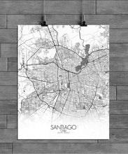Load image into Gallery viewer, Mapospheres Santiago Black and White full page design poster city map