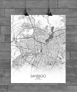 Mapospheres Santiago Black and White full page design poster city map
