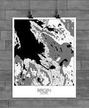 Load image into Gallery viewer, Mapospheres Bergen Black and White full page design poster city map