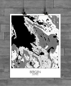 Mapospheres Bergen Black and White full page design poster city map
