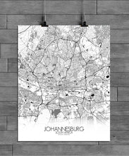 Load image into Gallery viewer, Mapospheres Johannesburg Black and White full page design poster city map