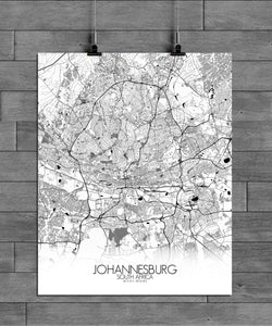 Mapospheres Johannesburg Black and White full page design poster city map