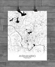 Load image into Gallery viewer, Antananarivo Black and White full page design poster city map